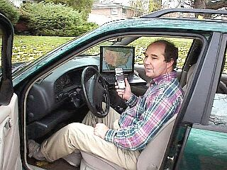 Photo of Stephen Smith in car with SSTV